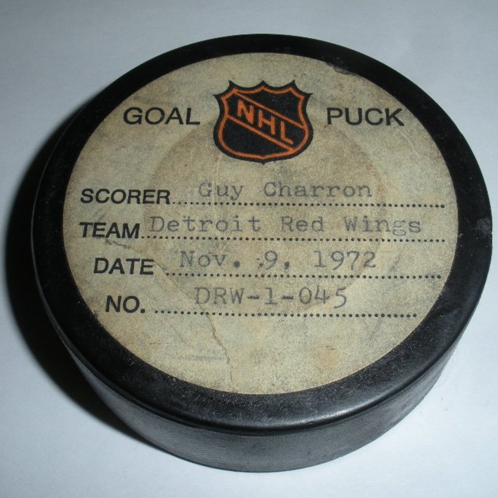 Guy Charron - Detroit Red Wings - Goal Puck - November 9, 1972 (No Logo)