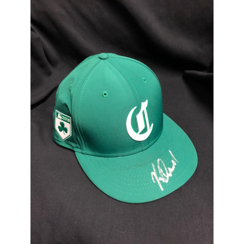 Photo of Kevin Quackenbush -- Autographed -- Reds St. Patrick's Day Cap -- Game-Used