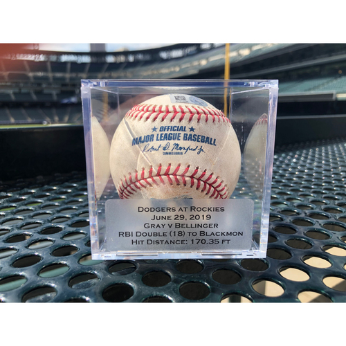 Photo of Colorado Rockies Game Used Baseball - Pitcher: Jon Gray, Batter: Cody Bellinger - RBI Double (18) to Charlie Blackmon - June 29th, 2019 vs. Dodgers