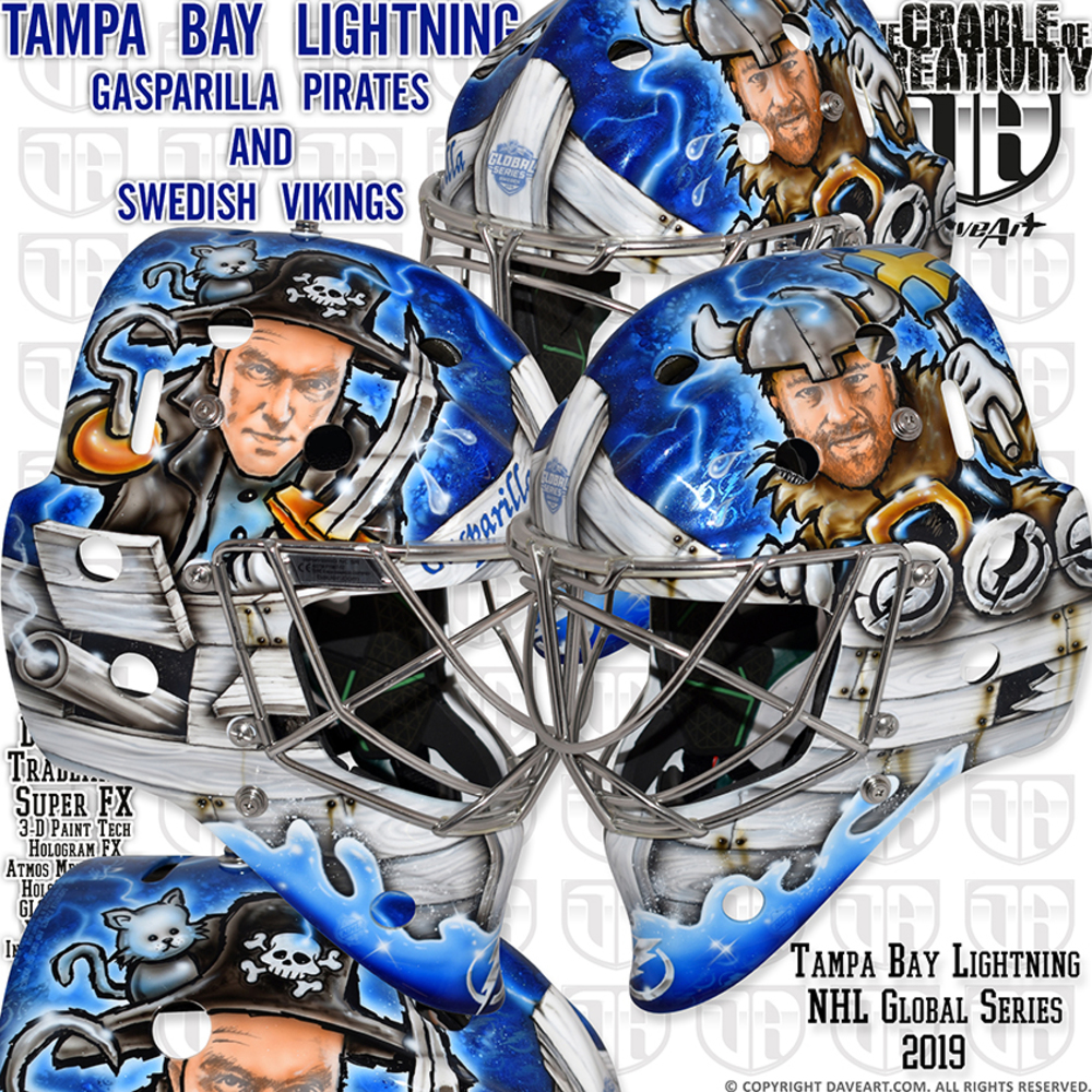 2019 NHL Global Series Goalie Mask created by Dave Art Autographed by Victor Hedman and Andrei Vasilevsliy - Tampa Bay Lightning - Not Game Worn