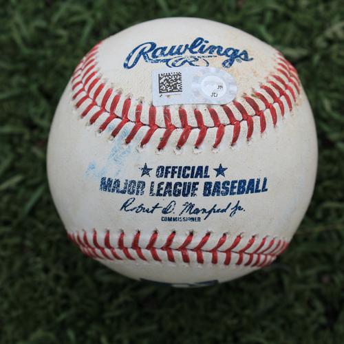 Photo of Game-Used Baseball: Bubba Starling 27th Career Hit (OAK @ KC - 8/29/19)
