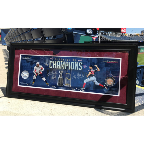 Photo of Stephen Strasburg & Alex Ovechkin Framed Autographed District Of Champions Panoramic Photograph With Multiple Inscriptions And Game-Used Dirt and Goal Netting