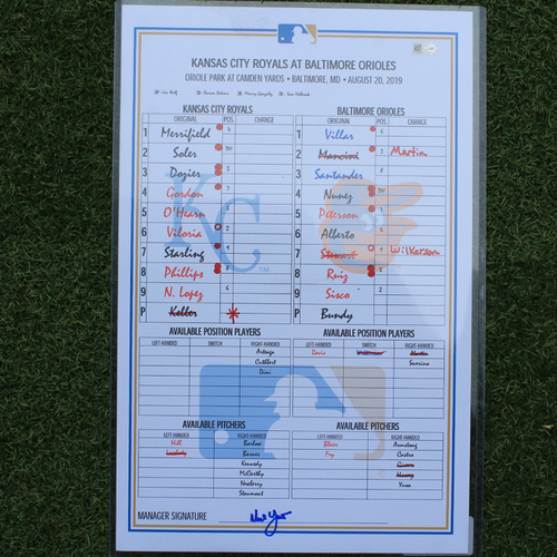 Photo of Game-Used Line-Up Card: Hunter Harvey 1st MLB Win (KC @ BAL - 8/20/19)