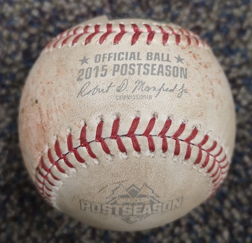Photo of Authenticated Game Used Postseason Baseball - Pitch in the Dirt by Marcus Stroman against Mike Moustakas (ALCS Game 3: Oct 19, 15 vs KCR). Top 2.