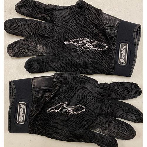 Photo of 2020 Black Friday Sale - #13 Austin Slater Team Issued Autographed Black Franklin Batting Gloves