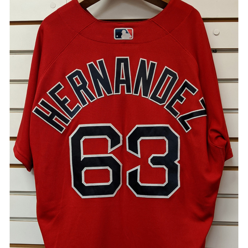 Photo of Darwinzon Hernandez #63 Team Issued Nike Red Spring Training Jersey
