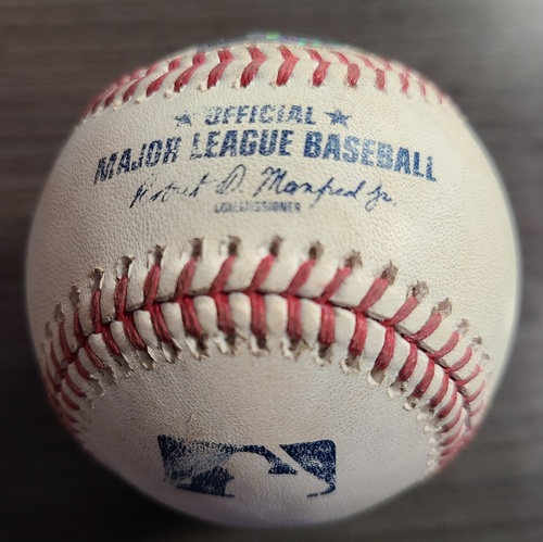 Photo of Authenticated Game Used Baseball: RBI Double by Harold Ramirez against Hyun Jin Ryu (Aug 3, 2021 vs CLE). Top 6.