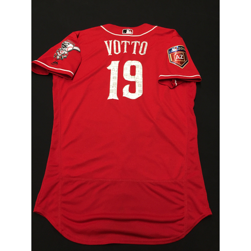 Photo of Joey Votto -- Game-Used Spring Training Jersey -- 2018 Cactus League