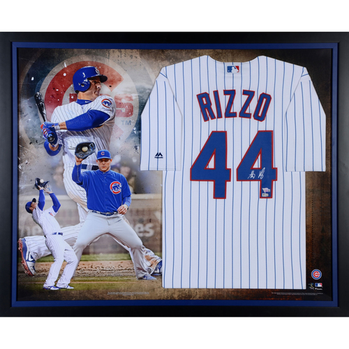 Photo of Anthony Rizzo Chicago Cubs Framed Autographed Majestic White Replica Jersey Collage