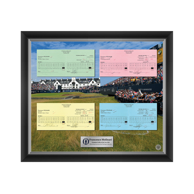 Photo of 1 of 200 L/E Francesco Molinari, Champion Golfer of the Year, The 147th Open 1,2,3 and Final Round Scorecard Reproductions Framed