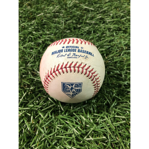 Photo of 20th Anniversary Game Used Baseball: Albert Pujols ground out off Jake Faria - August 1, 2018 v LAA