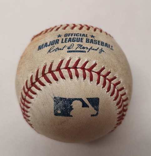 Photo of Authenticated Game Used Baseball - Kevin Pillar Single against Chris Tillman (April 23, 2015 vs BAL). Bottom 4.