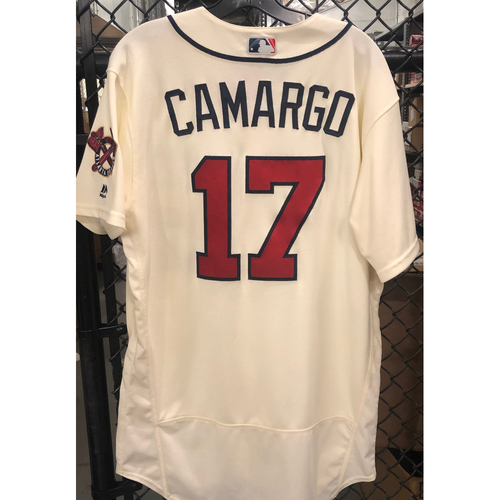 Johan Camargo Game Used Home Ivory Jersey - Worn 5/6/2018