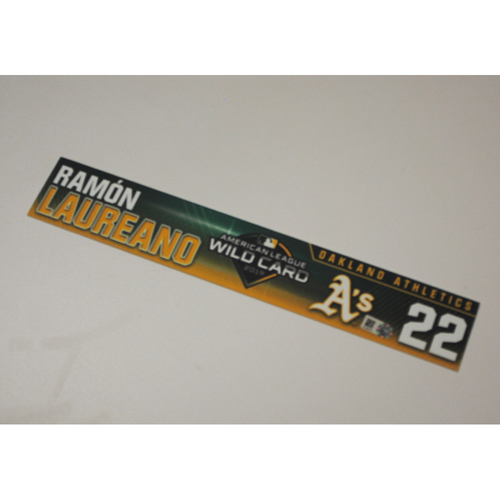 Photo of Ramon Laureano Game-Used AL Wild Card Game Locker Nameplate
