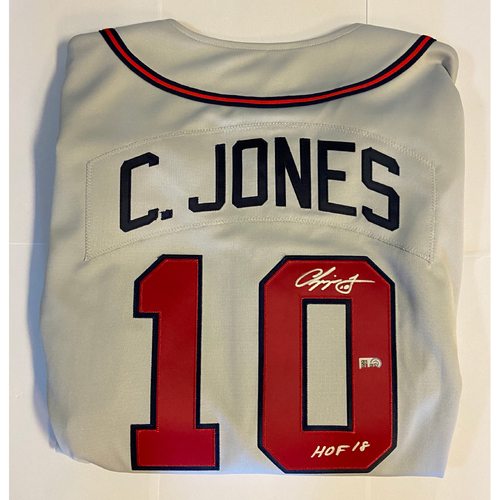 "Photo of Chipper Jones ""HOF 18"" Autographed Grey Mitchell & Ness Braves Jersey"