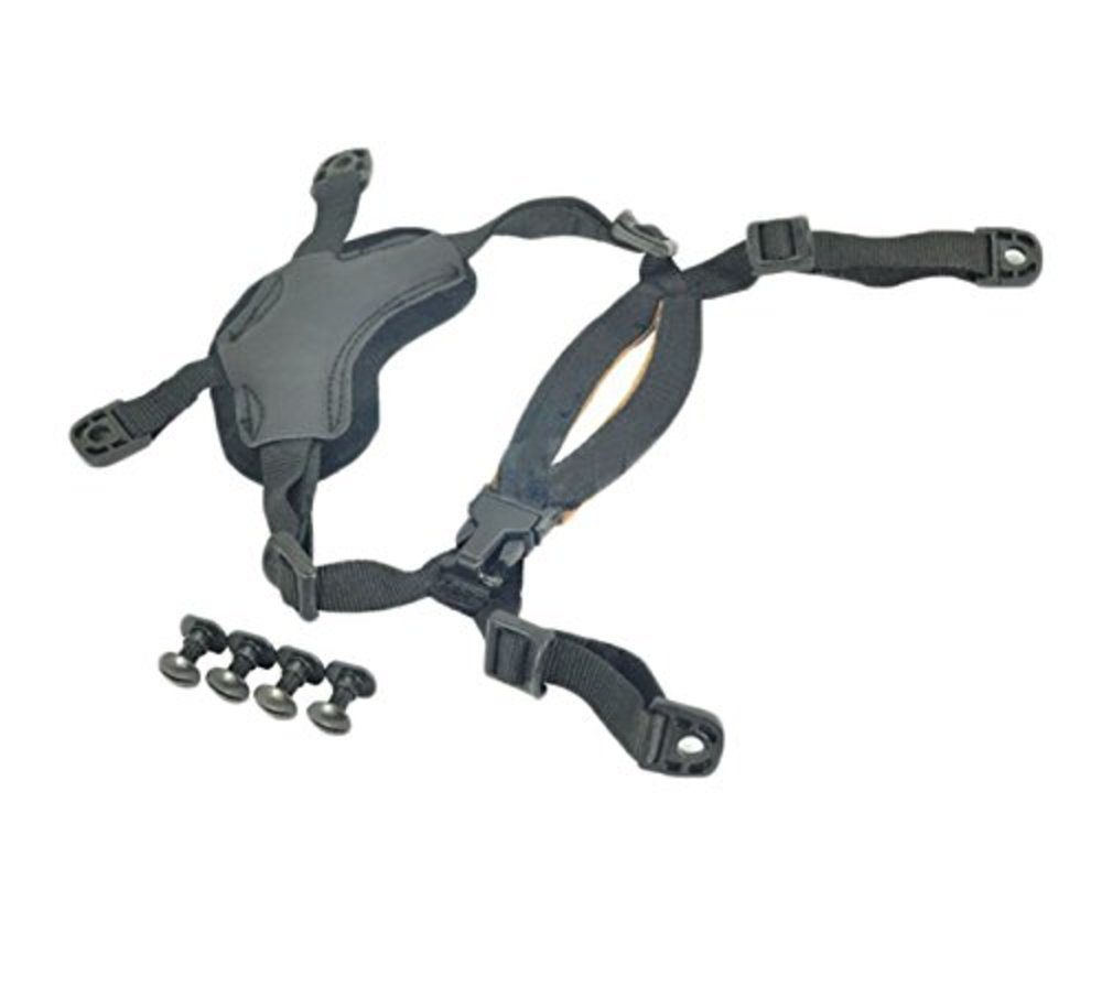 Photo of OSdream 4 Points Chin Strap with Bolts and Screws for Ordinary helmet/Suspension System Helmet Lanyard (Black)