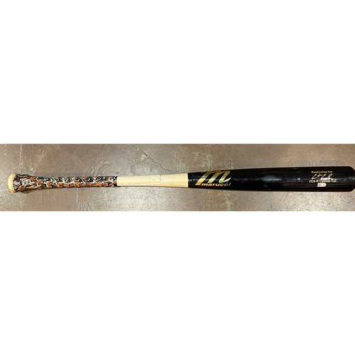 Photo of 2021 Game Used Broken Bat used on 4/3/21 @ SEA by #2 Curt Casali - T-7: Kendall Graveman to Curt Casali - Pop Out to 1st Base - Marucci Game Model Bat