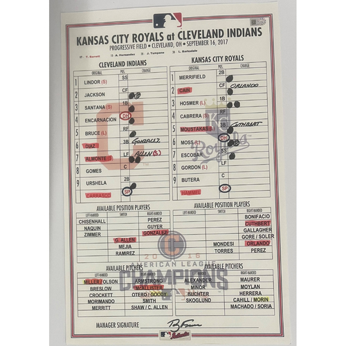 Photo of Game-Used Line-up Card- 9/16/2017 - Royals at Indians