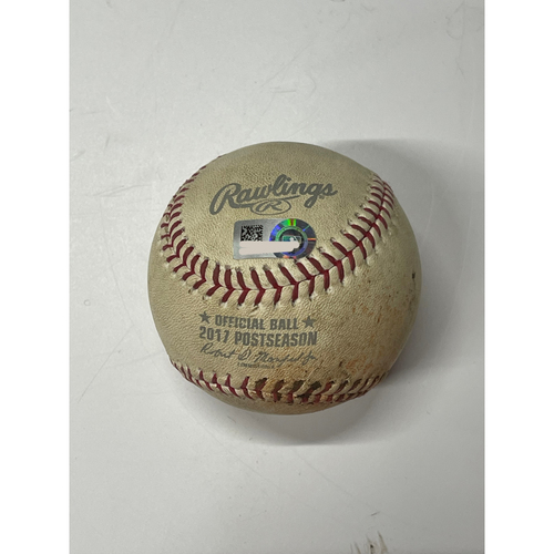 Photo of Game Used Baseball - 10/11/2017 ALDS game 5 Yankees at Indians - CC Sabathia pitches to Jay Bruce (singles) and Roberto Perez (ball)