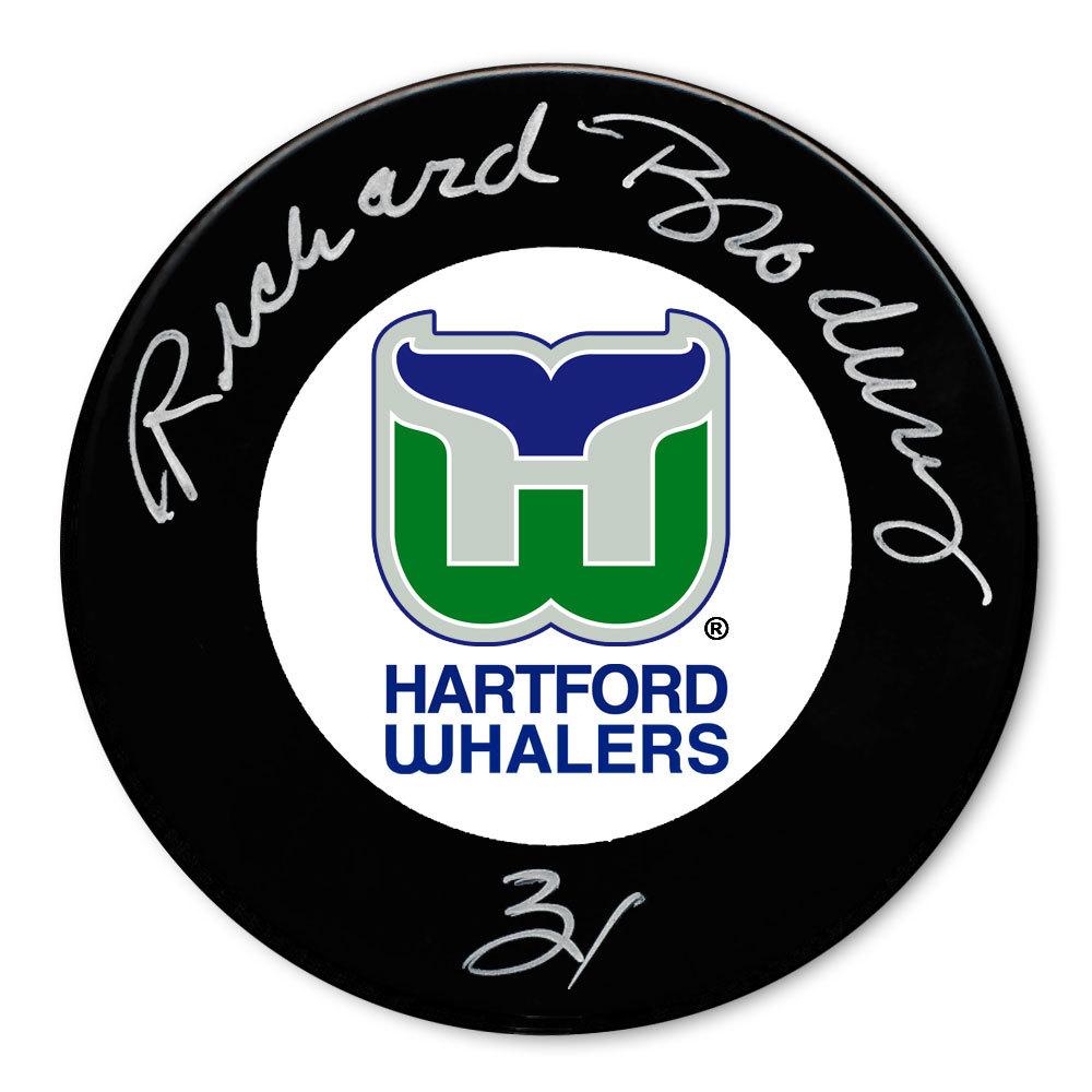 Richard Brodeur Hartford Whalers Autographed Puck