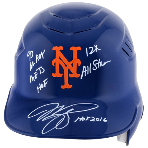 Photo of Mike Piazza New York Mets Autographed Batting Helmet with Multiple Inscriptions - #1 in a Limited Edition of 12