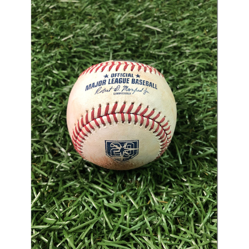 Photo of 20th Anniversary Game Used Baseball: Matt Duffy single and Daniel Robertson single off Andrew Heaney - August 2, 2018 v LAA