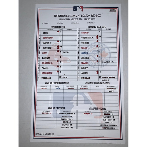 Photo of Toronto Blue Jays vs Boston Red Sox June 23, 2019 Game Used Lineup Card - Blue Jays Win 6 to 1