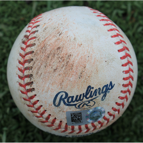 Photo of Game-Used Baseball: Hunter Dozier 90th Career Hit, Chris Owings 493rd Career Hit and 198th Career RBI (SEA @ KC - 4/8/19)