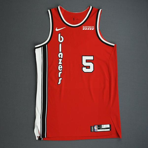 Image of Rodney Hood - Portland Trail Blazers - Game-Worn Classic Edition 1975-77 Road Jersey - Scored 25 Points - 2019-20 NBA Season