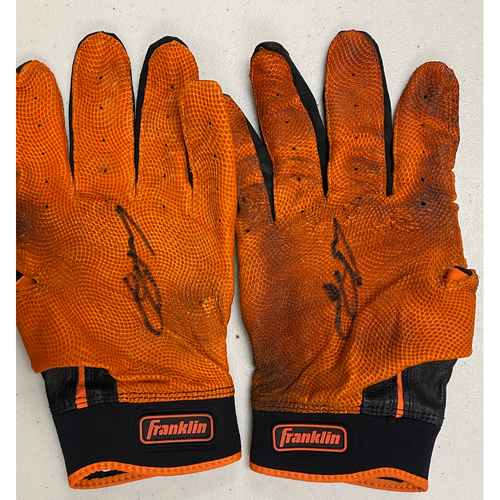 Photo of 2020 Black Friday Sale - #13 Austin Slater Team Issued Autographed Orange & Black Franklin Batting Gloves