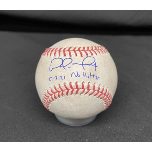 Photo of Wade Miley No-Hitter - *Autographed Game-Used Baseball* - Top 2 - Zach Plesac to Mike Moustakas (Fly Out); to Eugenio Suarez (Foul) - Inscribed as 5-7-21 No Hitter