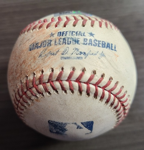 Photo of Authenticated Game Used Baseball: Single by Franmil Reyes against Steven Matz (Aug 4, 2021 vs CLE). Top 4.