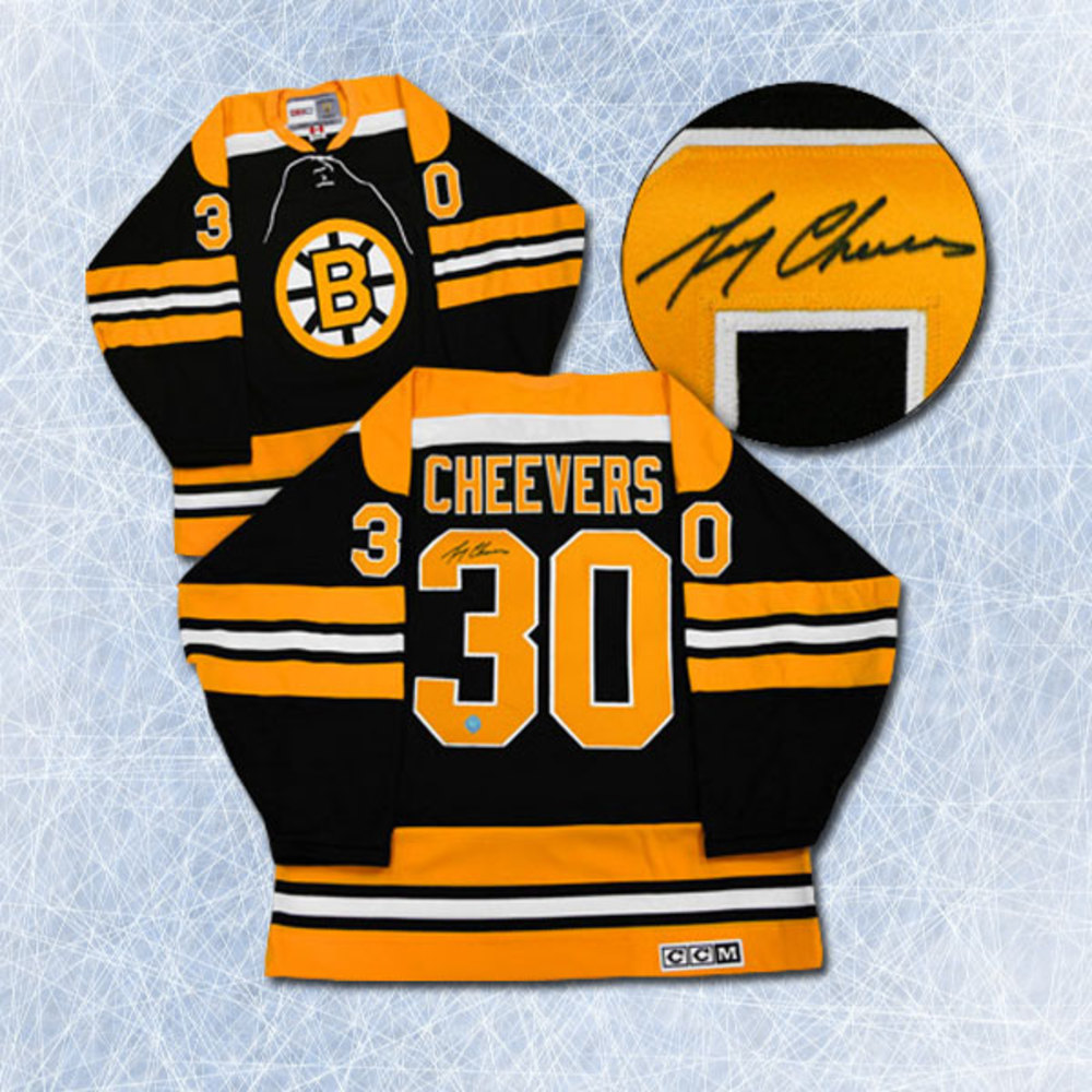 Gerry Cheevers Boston Bruins Autographed Stanley Cup Retro CCM Hockey Jersey
