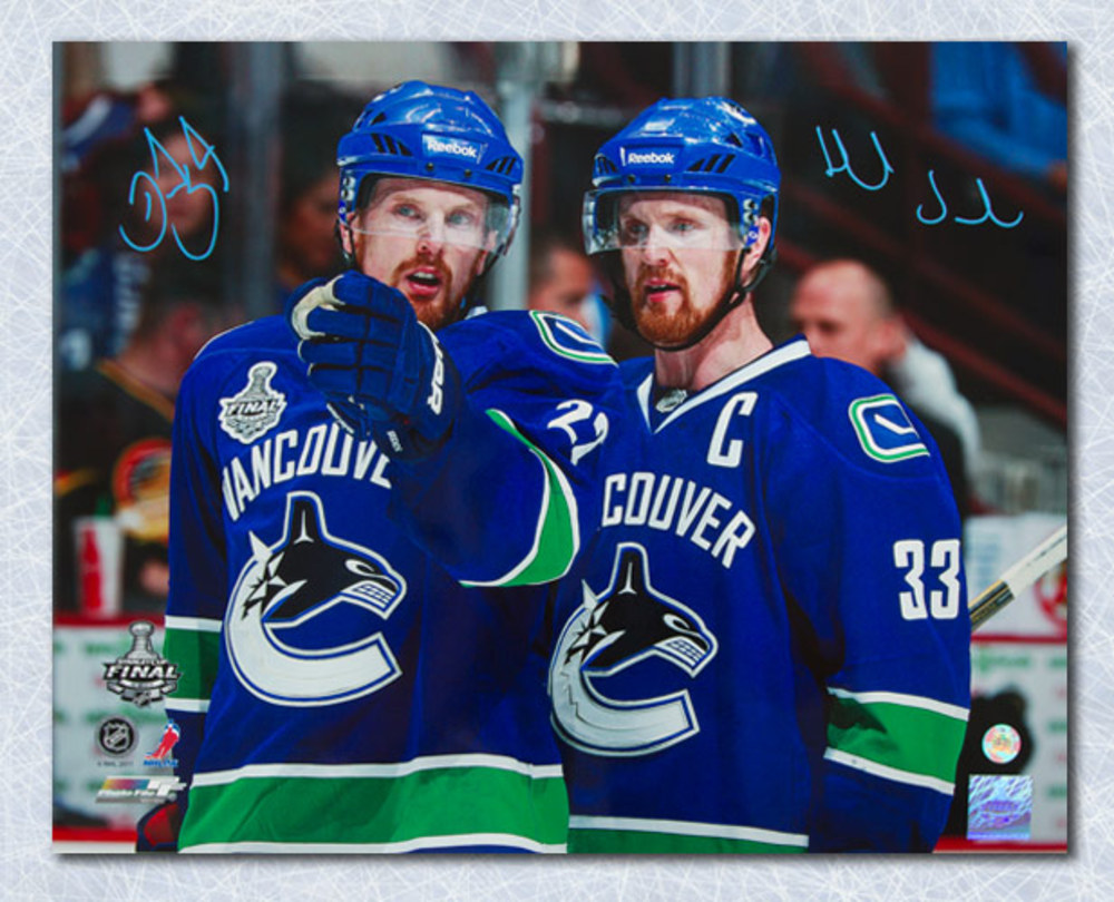 Henrik & Daniel Sedin Vancouver Canucks Autographed Finals Close-Up 16x20 Photo