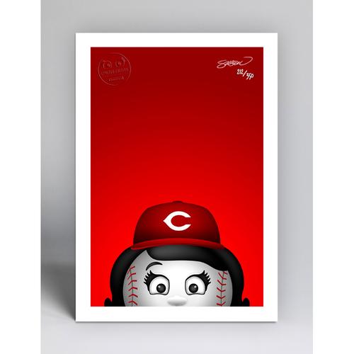 Photo of Rosie Red - Limited Edition Minimalist Mascot Art Print by S. Preston  - Cincinnati Reds