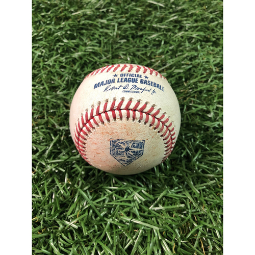 Photo of 20th Anniversary Game Used Baseball: Hunter Wood ball in dirt to Albert Pujols - August 2, 2018 v LAA