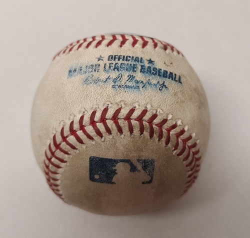 Photo of Authenticated Game Used Baseball - Melky Cabrera Single against Drew Hutchison (May 25, 2015 vs CWS). Top 4. Drew Hutchison had a Complete Game Shutout.