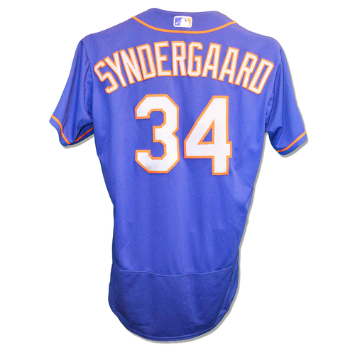 Photo of Noah Syndergaard #34 - Team Issued Blue Alt. Road Jersey - 2018 Season