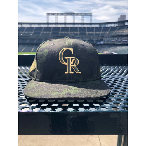 Photo of Colorado Rockies Foundation Game-Used Armed Forces Day Hat - Nolan Arenado - May 19, 2019 vs. Phillies