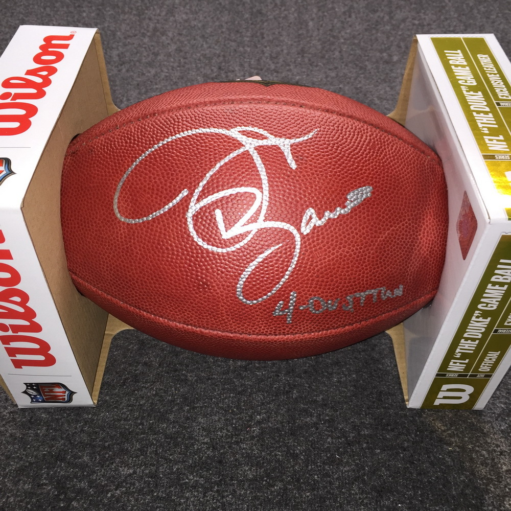 Ohio State J.T. Barrett signed authentic football w/ 4-0 vs TTUN inscription