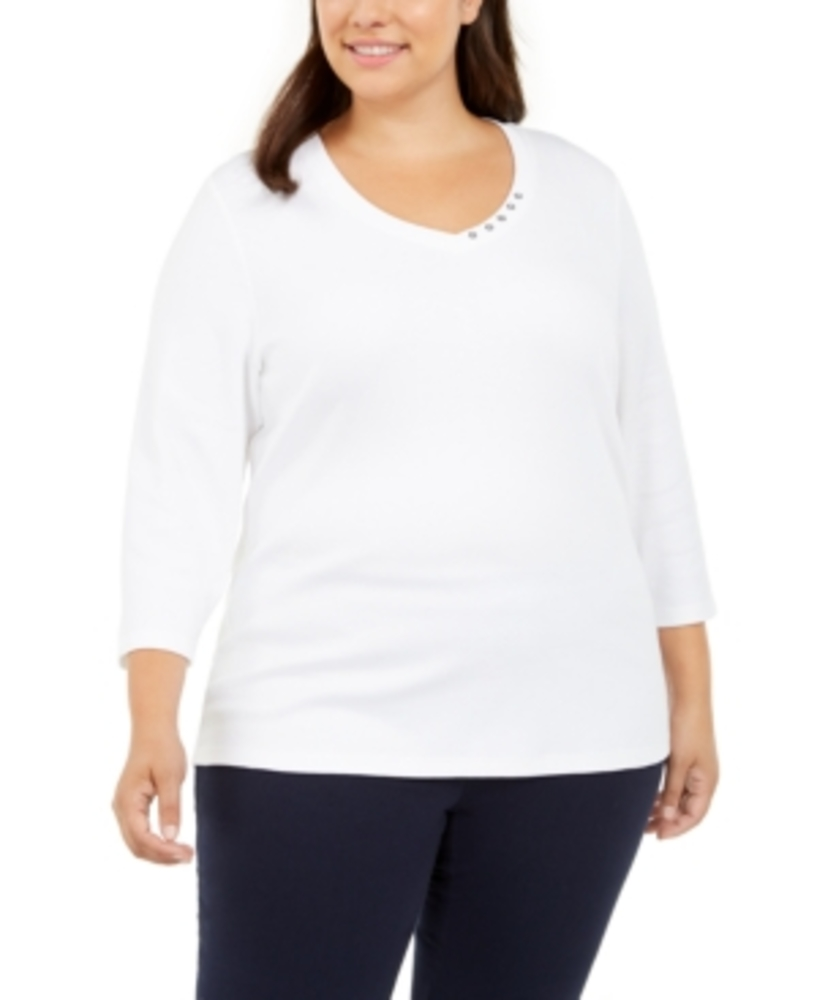 Photo of Karen Scott 3/4 Sleeve V-Neck Top