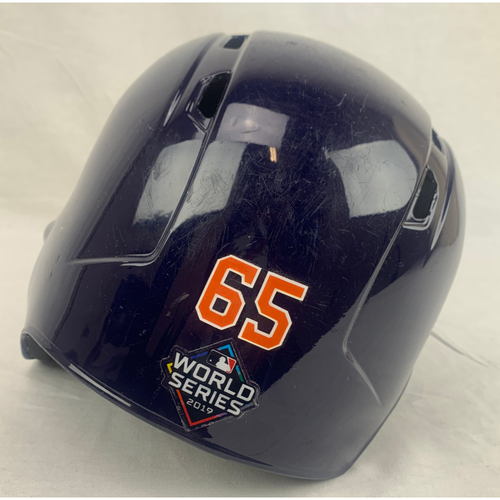 Photo of Jose Urquidy Game-Used 2019 World Series Helmet - World Series Game 4 - 10/26/2019 at WAS