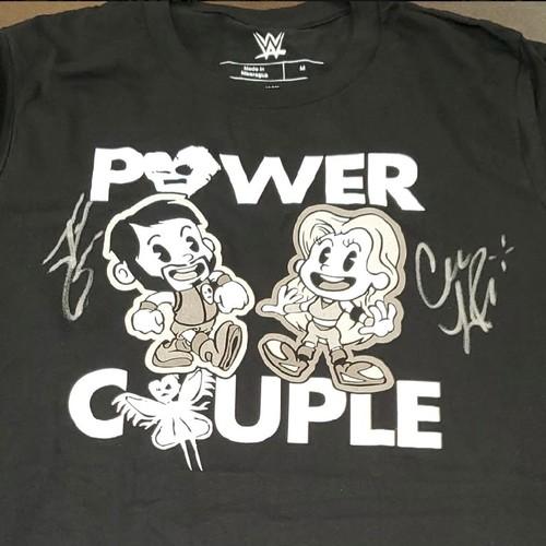 "Photo of Johnny Gargano and Candice LeRae SIGNED ""Power Couple"" T-Shirt"