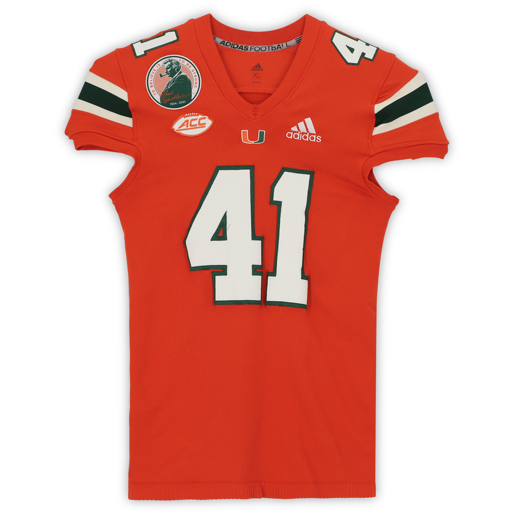 #41 Miami Hurricanes Game-Used adidas Primeknit Jersey with Howard Schnellenberger Patch vs. Virginia Cavaliers September 30, 2021 - Size XL