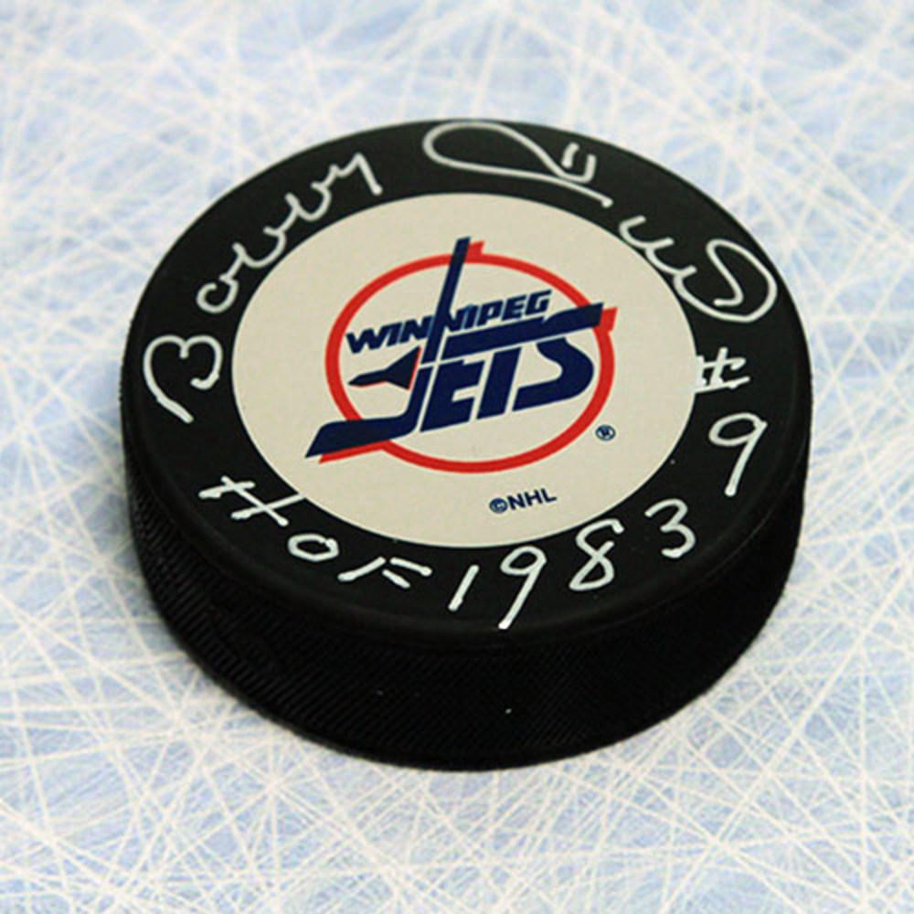 Bobby Hull Winnipeg Jets Autographed Hockey Puck with HOF Inscription