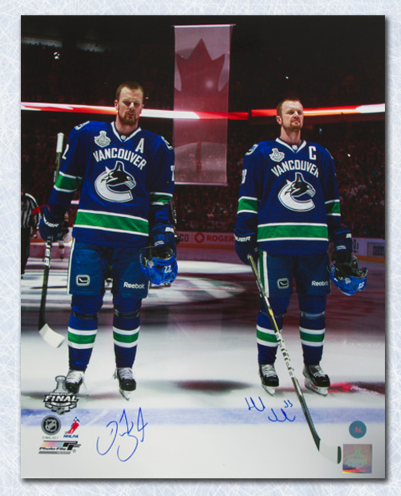 Henrik & Daniel Sedin Vancouver Canucks Signed Cup Finals Anthem 16x20 Photo