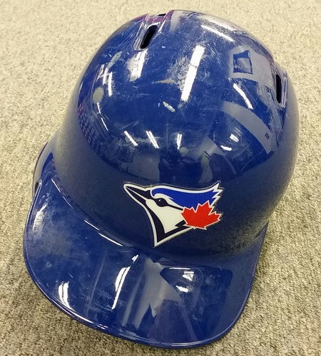 Authenticated Game Used #17 Ryan Goins 2016 Post Season Batting Helmet - used ALCS Game 3 and ALCS Game 4. Size 7 1/4.