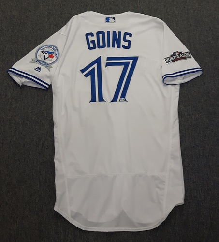 Photo of Authenticated Team Issued Jersey - #17 Ryan Goins (2016 Postseason). Size 42.