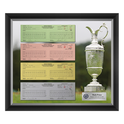 Photo of 1 of 200 L/E Nick Price, Champion Golfer of Year, The 123rd Open 1,2,3 and Final Round Scorecard Reproductions Framed