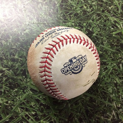Photo of Game-Used Opening Day Baseball COL@MIL  04/03/17 - Corey Knebel - Charlie Blackmon: RBI Fielder's Choice